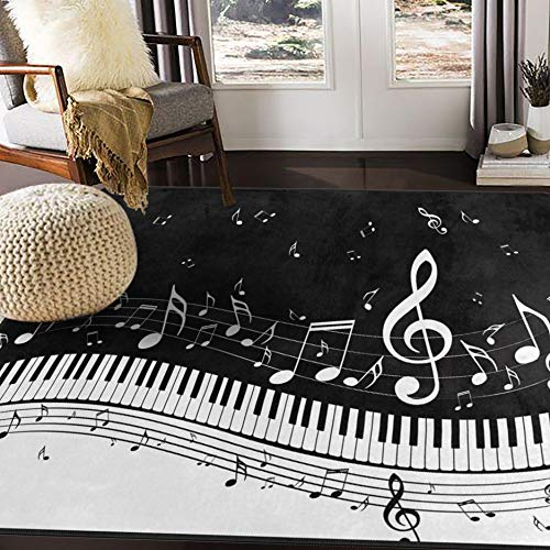 ALAZA Abstract Piano Music Note Black Area Rug Rugs for Living Room Bedroom 5'3