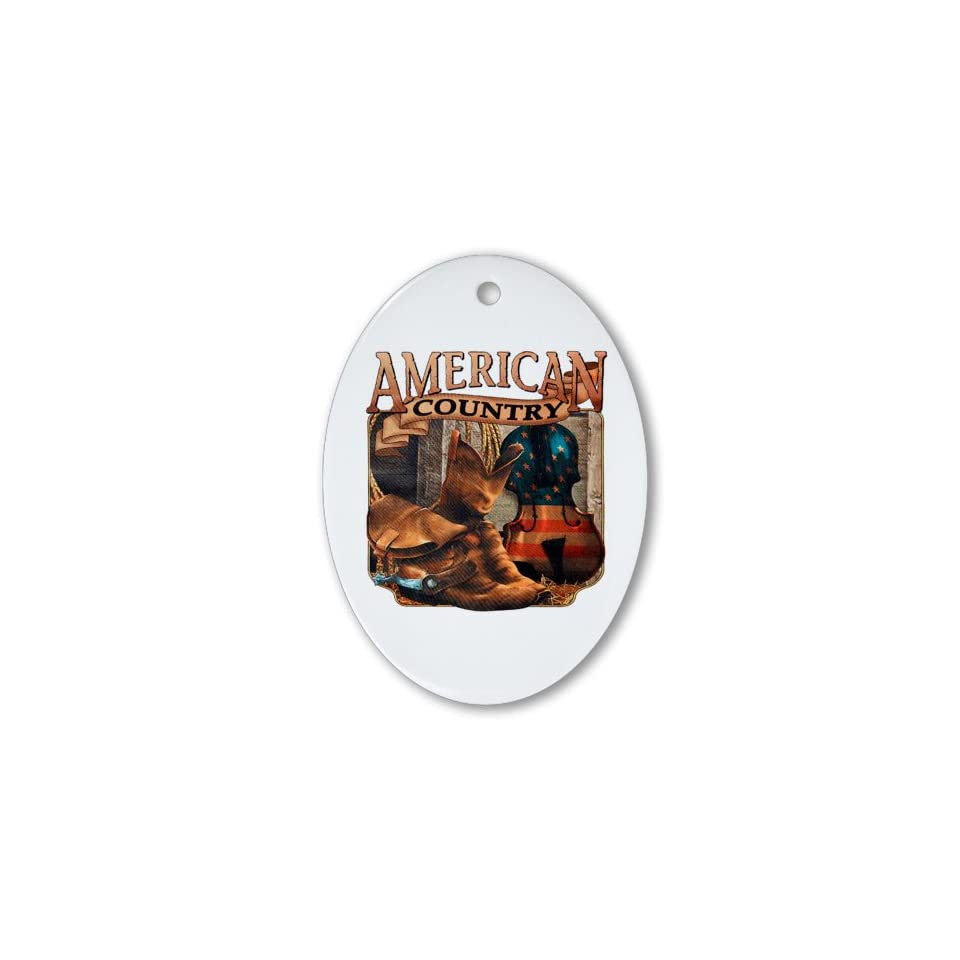 Ornament (Oval) American Country Boots And Fiddle Violin Cowboy