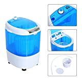 HOMCOM Electric Small Compact Portable Clothes Washer, Washing Machine - Top Load Wash and Spin Dry, for Dorms, College Rooms, RV's - Blue and White