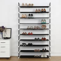 Housen Solutions 10 Tier 50 Pairs Plastic Shoe Shelf Stand Organizer (Black)