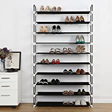 10 Tier Shoe Rack 50 Pairs Plastic Shoe Shelf Stand Organizer with Non-Woven Fabric, Black