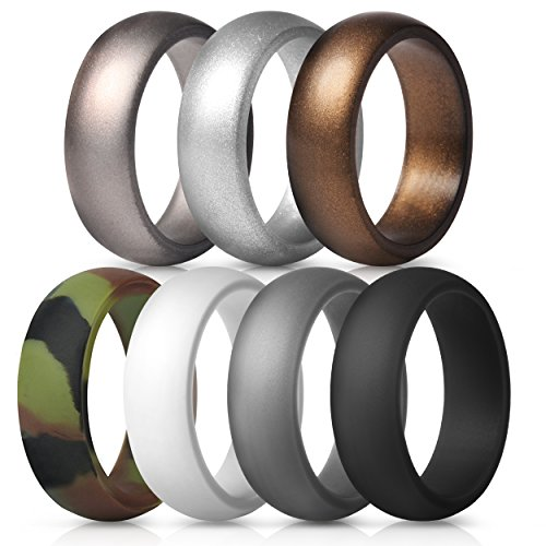 Fit Camo (ThunderFit Silicone Rings, 7 Pack Wedding Bands for Men - 8.7 mm wide (Camo, White, Dark Gray, Black, Brown, Dark Silver, Silver, 10.5 - 11 (20.6mm)))