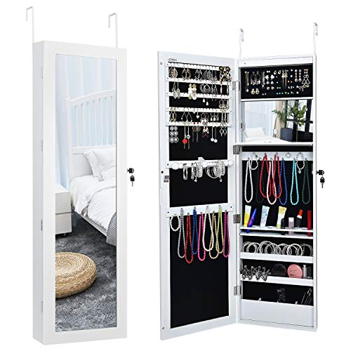 Herron LED Jewelry Cabinet Armoire with Mirror,Over The Door Jewelry Box or Wall Mounted Jewelry Organizer for Women to Store Jewelry,White (Box Jewerly Mirror)