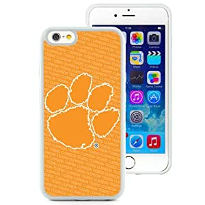 Beautiful Designed With NCAA Atlantic Coast Conference ACC Footballl Clemson Tigers 1 Protective Cell Phone Hardshell Cover Case For iPhone 6 4.7 Inch TPU Phone Case White