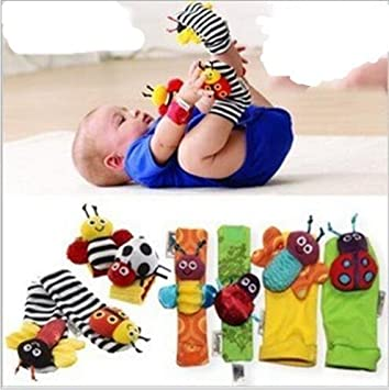 2Pcs Cute Animal Infant Baby Kids Hand Wrist Bell Foot Sock Rattles Soft Toy S
