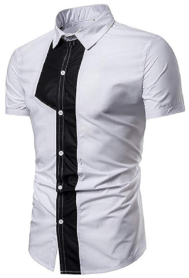 Domple Men Summer Button Down Loose Fit Short Sleeve Color Block Dress Shirts