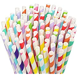 Paper Straws, Umwon 250 Count Biodegradable Paper Drinking Straws, Rainbow Striped BPA Free Eco-friendly Straws with 10 Different Colors for Birthday, Wedding, Christmas, Celebration Parties