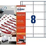 Avery Dennison L4728-20 - Etiquetas identificadoras microperforadas (20 folios con 8 etiquetas por folio), color blanco