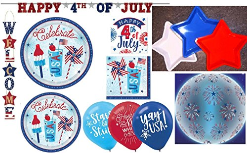 Amscan Fourth of July Party Pack for 18 Bundle of Plates, Na