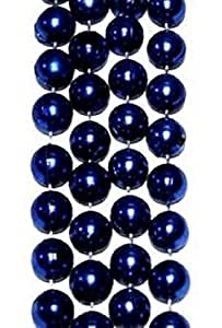 "Mardi Gras, Blue Metallic Round Beads, 14 mm, 48"", 1 Dozen (12pcs)."