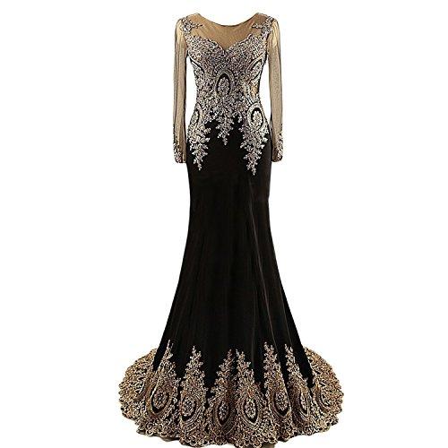 65fb804340d1 Lemai Black Jersey Mermaid Gold Lace Rhinestones Prom Evening Dresses Long  Sleeves Sheer US20W