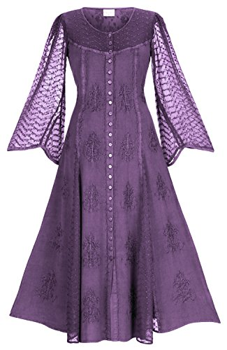 HolyClothing Jonella Buttoned Flare Maxi Dress - Large - Purple Passion