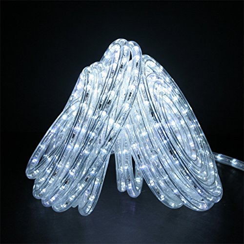 "Commercial Grade White Rope Light (50ft 120V Cool White Super Bright LED Rope Light, Direct-Lighting, Heavy Duty PVC Clear Rope Lights Tube, 1/2"", Expandable to 200 Ft, Commercial Electric Grade, 2 Wire, Exterior and Interior Rope Lighting, GRL-50-CW, [UL])"