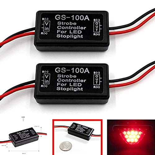 BlyilyB 9-16V Flash Strobe Controller Flasher Module for LED Brake Lamp Tail Stop Lamp (Pack of 2)