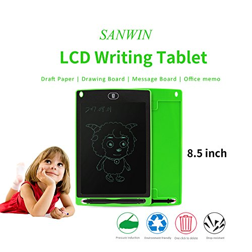 Sanwin 8.5 Inch Digital Ewriter LCD Drawing Tablet Eco Friendly Paperless Drawing/Doodle Pad for Kids,No Backlit Safe to Eyes Easy Use,Magnet Stick Fridge Memo Board Long Life 50000 Erase Time(Green) by Sanwin (Image #2)