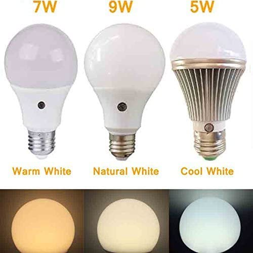 Garage Patio Natural White for Street Lamp Porch Hallway E27 9W 6000K LED Light Bulb with Twilight Sensor and Built-in Photo Sensor Detection Automatic Switch Light for Indoor Lighting and Outdoor Lighting