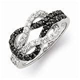 925 Sterling Silver Black and Clear Cubic Zirconia CZ Love Knot Wedding Ring Band (4mm)