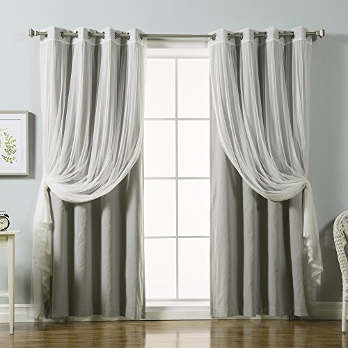 Best Home Fashion Mix & Match Tulle Lace & Solid Cotton Blend Blackout Curtain Set – Stainless Steel Nickel Grommet Top – Grey – 52