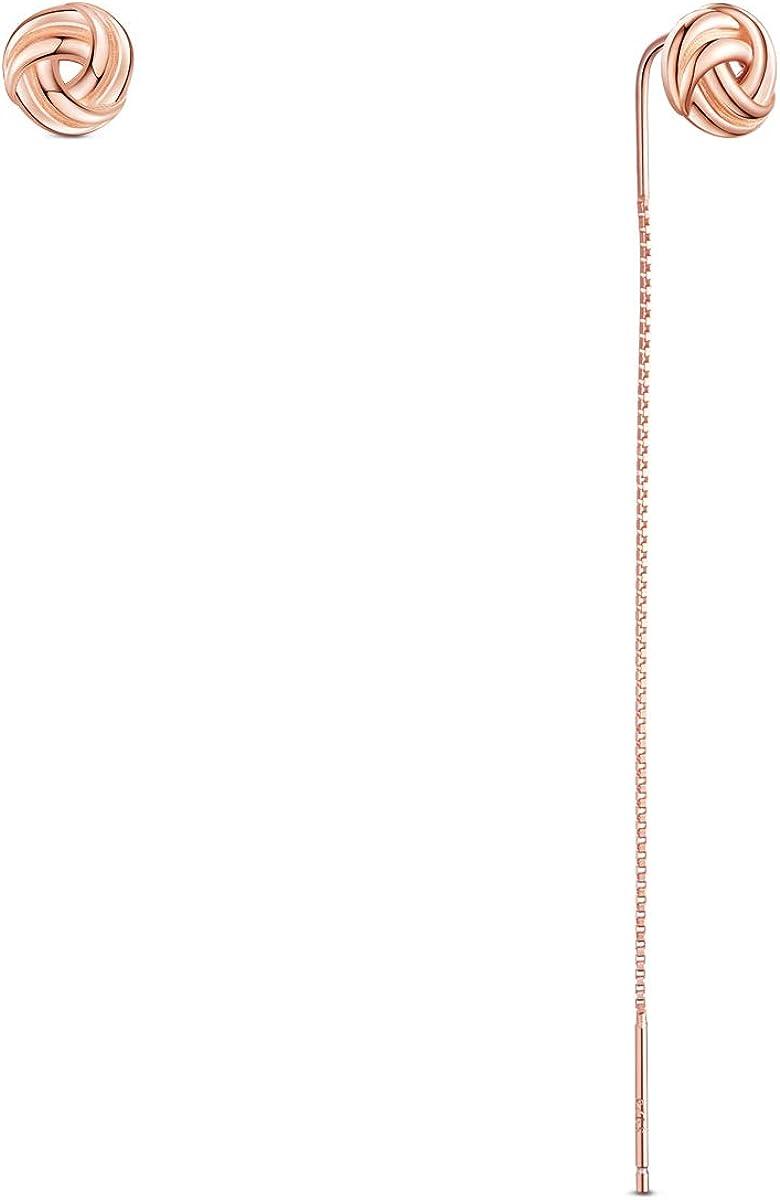 SHEGRACE 925 pendientes asimétricos de plata con flor rosa