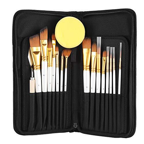 ペイントブラシセット アーティストブラシ アーティストペイントブラシセット 15種類の絵筆とキャリーケース付き 初心者やプロのアーティストへのギフトに最適