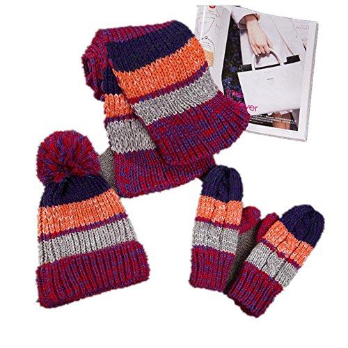Hiver automne chaud épaississement tricot trois pièces gant foulard chapeau , 3