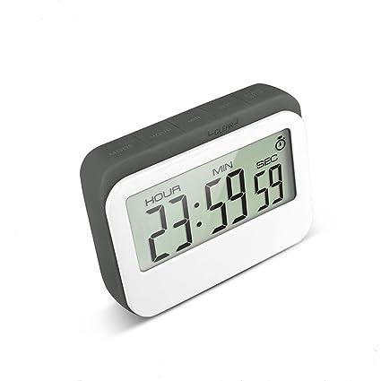 Homemax Temporizador de Cocina Digital 12/24 Horas Reloj Despertador con Parte Posterior magnética y