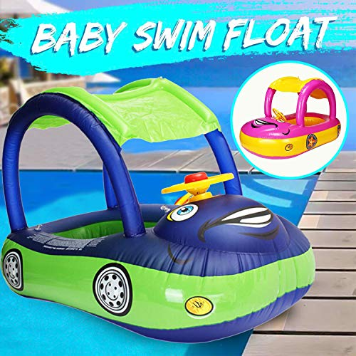 Baby Swimming Pool Floats with Canopy Safety Seat, Inflatable Infant Swim Ring Seat Float Boat, Cute Sunshade Cartoon Boat Float Summer Fun Outdoor Pool Toys for Baby Infant Toddler Kid (6-36 Months)