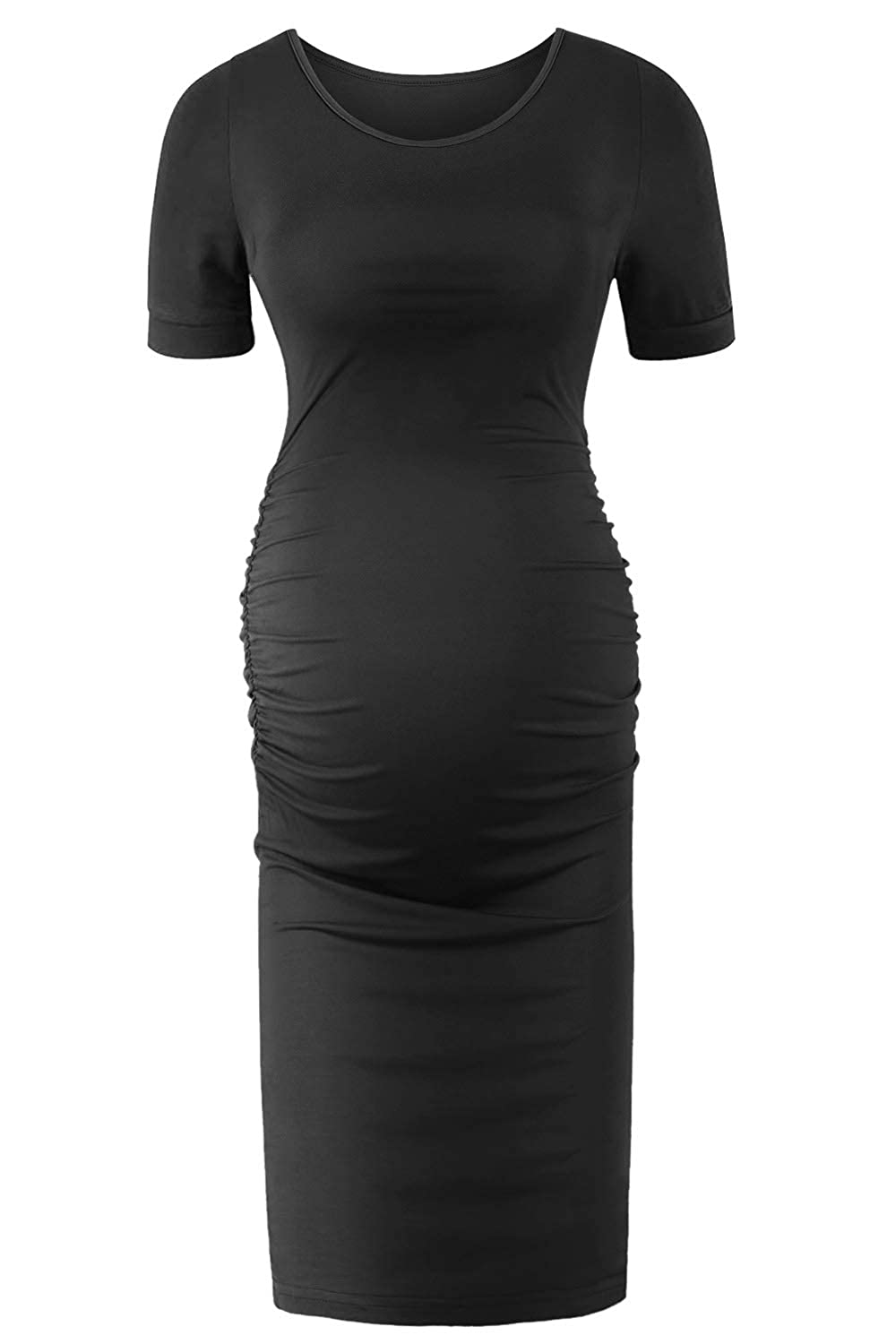 f33a58ec86e15 SUNNYBUY Women's Short Sleeve Maternity Dresses Casual Summer Pregnancy  Work Clothes Ruched Fitted Maternity Bodycon Dress