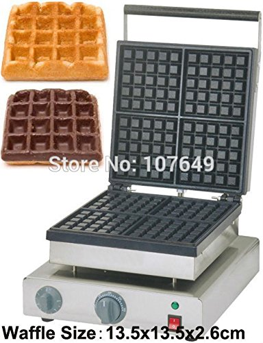 Hot Sale 110v 220V Commercial Use Non-stick Electric 4-Slice 13.5cm Square Classic Waffle Machine Maker Iron Baker