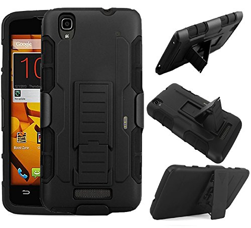 ZTE Boost MAX + N9520 Case [SlickGearsTM] Heavy Duty Rubberized Full Body Shock Impact Protection Dual Layer Hybrid Tactical Armor Kickstand Work Case with Belt Clip Carrying Holster (Black) (Boost Mobile N9520 Phone Case)