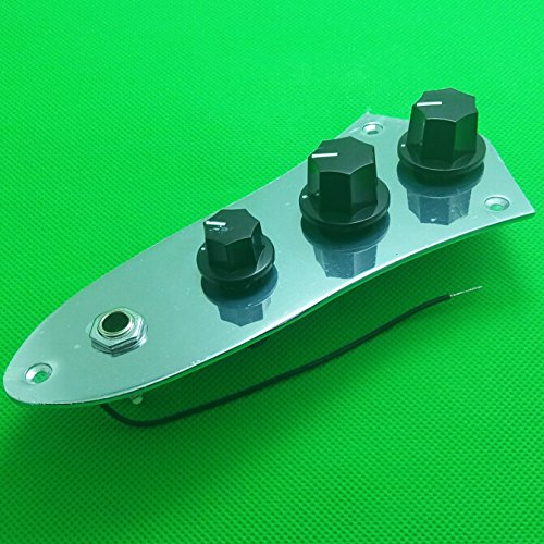 (TTONE 3 Bands Chrome Plated Wired Control Plate Assembly Preamp for Jazz Bass Guitar With 3PCS Black Knobs)