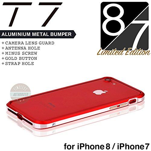 iPhone8 / iPhone7 バンパー ケース SWORD T7 アルミバンパー メタルバンパー カメラガード?ストラップホール付(iPhone8 / iPhone7,レッド x シルバー)