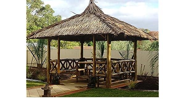 Bali Cenador, gazebo, Bali cabaña de bambú con laterales, mesa y bancos, 4 x 4 m: Amazon.es: Jardín