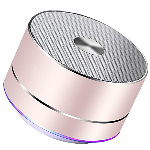Portable Wireless Bluetooth Speaker Mini Portable speaker with Built-in-Mic, Handsfree Call,AUX Line,TF Card,HD Sound and Enhanced Bass for iphone, ipad,PC,Cellphone (Rose gold)