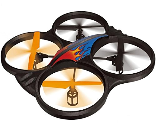 Haktoys HAK907C 2.4GHz 4-Channel 17 RC Quadcopter with Camera, Lightweight and Crash-Resistant Foam Structure, Loop Function, Rechargeable, 6-Axis Gyroscope, Ready To Fly with LED Light