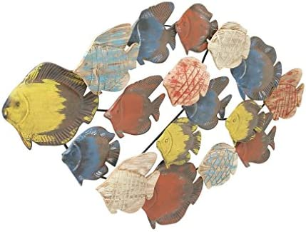 Deco 79 87460 Adorable Metal Wood Fish Wall Decor, 47 W x 25 H