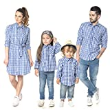 Family Matching Plaid Shirt (Blue, Mom/S)
