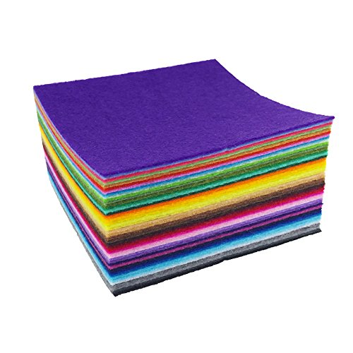 6 Piece Felt (flic-flac 44PCS 6 x 6 inches (15 x 15cm) Assorted Color Felt Fabric Sheets Patchwork Sewing DIY Craft 1mm Thick … (15cm 15cm, 44pcs))
