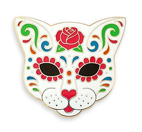 Pinsanity Cat Sugar Skull Enamel Lapel Pin -