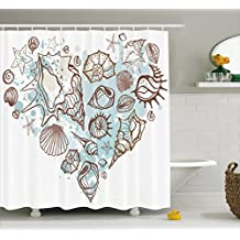 Nautical Shower Curtain by Ambesonne, Hand Drawn Seashells Scallop Starfish Whelk Ocean Underwater Life Theme, Fabric Bathroom Decor Set with Hooks, 75 Inches Long, Brown Warm Taupe Teal