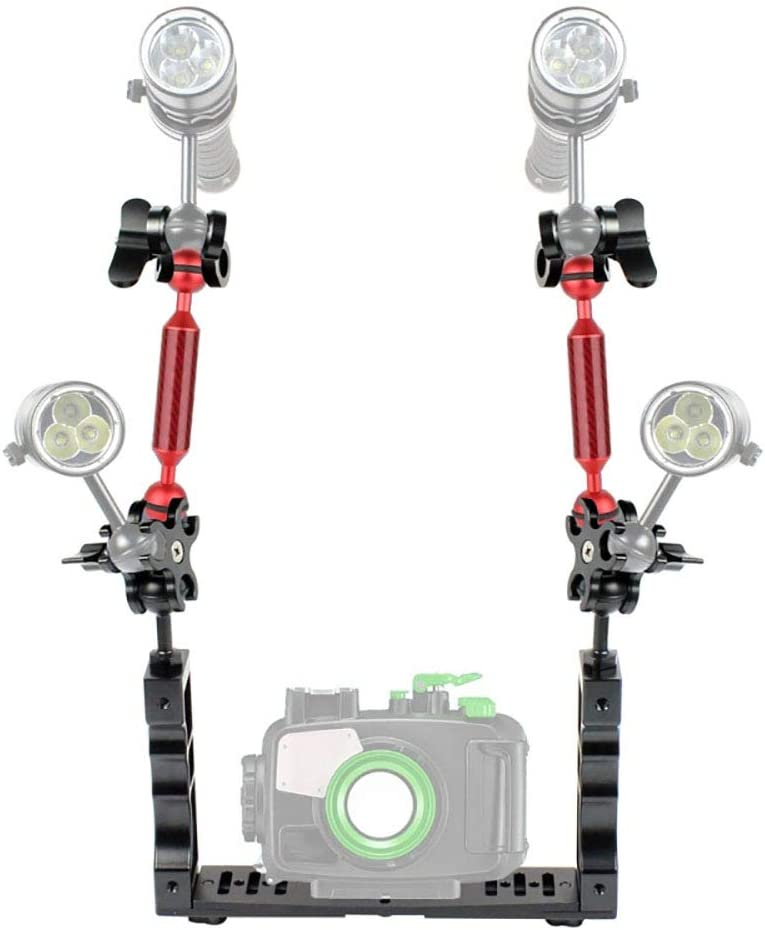 Color : Red ZQ House Dual Handle Aluminium Tray Stabilizer with Dual Ball Aluminum Alloy Clamp /& Floating Arm for Underwater Camera Housings