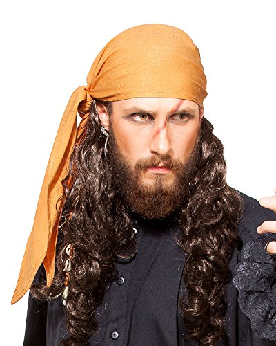 ThePirateDressing Pirate Medieval Renaissance Linen Triangle Bandana [Orange]