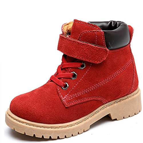 DADAWEN Boy's Girl's Classic Waterproof Leather Fur Lined Outdoor Strap Winter Boots (Toddler/Little Kid/Big Kid) Red US Size 12.5 M Little Kid -