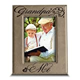 BELLA BUSTA- Grandpa and Me Picture Frame- Grandpa Gifts- Gift for Grandparents-Engraved Leather Picture Frame (5'x 7' Vertical(Grandpa))