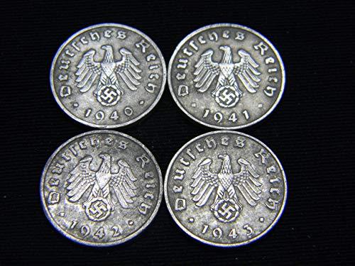 - Four (4) WWII German Reichspfennig Coins Dated 1940, 1941, 1942 &1943