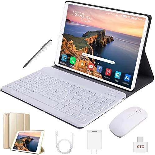 Tablet 10 Inch Android 9.0 Pie 32GB ROM/128GB 3GB RAM Tablet PC, 8500mAh Battery Quad Cord Phablet, Dual Camera Dual SIM Card Slots Unlocked, Bluetooth, GPS, WiFi,Netflix, Disney+