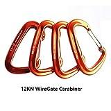 FresKaro 4pcs 12KN Aluminium Wire-Gate Carabiners Clips,...
