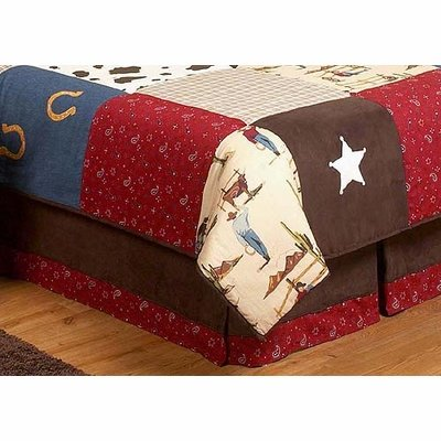 Sweet Jojo Designs Wild West Cowboy Western Horse Queen Kids Children's Bed Skirt