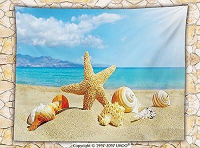 Seashells Decor Fleece Throw Blanket Summer Beach Theme and Sand with Starfish Seashells Rays in the Sky Clouds Seaside Marine Throw