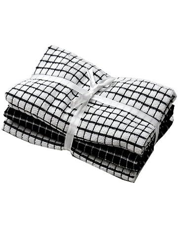 Paño de cocina de color negro y blanco, 40 x 65 cm blanco